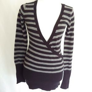 Energie Black and Gray Striped Sweater